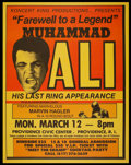 Boxing Collectibles:Memorabilia, 1979 Muhammad Ali Last Ring Appearance Fight Poster....