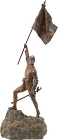 Military & Patriotic:WWI, Exceptional Bronze Statue of an Imperial German WWI Period Flag Bearer....