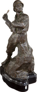 Military & Patriotic:WWI, Large Bronze Statue of a WWI Italian Soldier Throwing a Grenade....