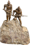 Military & Patriotic:WWI, Small Bronze of Central Powers Comrades: Austrian Mountain Trooperand German Infantryman....