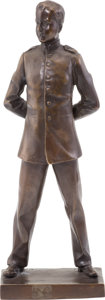 Military & Patriotic:WWI, Imperial Era Bronze of a Young German Cadet Standing At Ease....