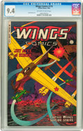 Golden Age (1938-1955):War, Wings Comics #116 (Fiction House, 1952) CGC NM 9.4 Off-white towhite pages....