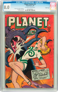 Golden Age (1938-1955):Science Fiction, Planet Comics #52 Double Cover (Fiction House, 1948) CGC VF 8.0Off-white to white pages....