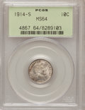 Barber Dimes: , 1914-S 10C MS64 PCGS. PCGS Population (45/31). NGC Census: (42/28).Mintage: 2,100,000. Numismedia Wsl. Price for problem f...