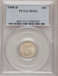 Barber Dimes: , 1908-D 10C MS63 PCGS. PCGS Population (28/53). NGC Census: (32/60).Mintage: 7,490,000. Numismedia Wsl. Price for problem f...