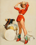 Pin-up and Glamour Art, GIL ELVGREN (American, 1914-1980). Something New, Brown &Bigelow calendar illustration, 1957. Oil on canvas. 30 x 24in...