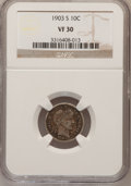 Barber Dimes: , 1903-S 10C VF30 NGC. NGC Census: (4/46). PCGS Population (7/116).Mintage: 613,300. Numismedia Wsl. Price for problem free ...