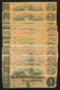 Confederate Notes:1864 Issues, T69 $5 1864. Fifteen Examples.. ... (Total: 15 notes)