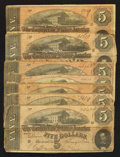Confederate Notes:1864 Issues, T69 $5 1864. Seven Examples.. ... (Total: 7 notes)