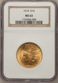 Indian Eagles, 1914 $10 MS63 NGC....