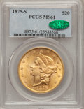 Liberty Double Eagles, 1875-S $20 MS61 PCGS. CAC....