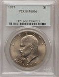Eisenhower Dollars: , 1977 $1 MS66 PCGS. PCGS Population (783/14). NGC Census: (278/7). Mintage: 12,596,000. Numismedia Wsl. Price for problem fr...