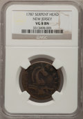 Colonials: , 1787 COPPER New Jersey Copper, Serpent Head VG8 NGC. NGC Census: (1/1). PCGS Population (1/34). (#518)...