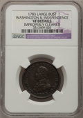 Colonials: , 1783 1C Washington & Independence Cent, Large MilitaryBust--Improperly Cleaned--NGC Details. VF. NGC Census: (6/61). PCGS...