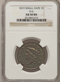 Large Cents: , 1819 1C Small Date AU50 NGC. N-6. PCGS Population (4/39).Numismedia Wsl. Price for problem free NGC/P...