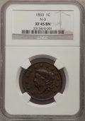 Large Cents: , 1833 1C XF45 NGC. N-3. NGC Census: (16/233). PCGS Population(10/122). Mintage: 2,739,000. Numismedia Wsl. Price for probl...