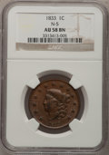 Large Cents: , 1833 1C AU58 NGC. N-5. NGC Census: (47/140). PCGS Population(25/54). Mintage: 2,739,000. Numismedia Wsl. Price for proble...