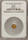 California Fractional Gold, 1871 25C Liberty Round 25 Cents, BG-857, High R.4, MS63 NGC....