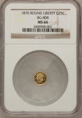 California Fractional Gold, 1870 25C Liberty Round 25 Cents, BG-808, R.3, MS66 NGC....