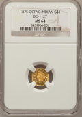 California Fractional Gold, 1875 $1 Indian Octagonal 1 Dollar, BG-1127, R.4, MS64 NGC....