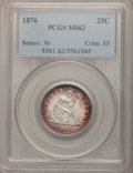 Seated Quarters: , 1876 25C MS62 PCGS. PCGS Population (66/289). NGC Census: (53/221).Mintage: 17,817,150. Numismedia Wsl. Price for problem ...