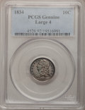 Bust Dimes, 1834 10C Large 4 PCGS Genuine. The PCGS number ending in .92suggests Cleaning as the reason, or perhaps one of the reasons...