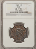 Large Cents: , 1827 1C XF40 NGC. N-4. NGC Census: (12/175). PCGS Population(12/101). Mintage: 2,357,732. Numismedia Wsl. Price for probl...