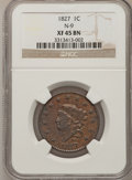 Large Cents, 1827 1C XF45 NGC. N-9. NGC Census: (12/163). PCGS Population(13/88). Mintage: 2,357,732. Numismedia Wsl. Price for problem...