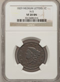 Large Cents: , 1829 1C Medium Letters VF20 NGC. N-5. PCGS Population (1/9).(#1666)...