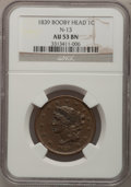 Large Cents: , 1839 1C Booby Head AU53 NGC. N-13. NGC Census: (9/120). PCGSPopulation (2/95). Mintage: 3,128,661. Numismedia Wsl. Price ...