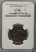 Large Cents: , 1839 1C Booby Head AU55 NGC. N-14. NGC Census: (15/105). PCGSPopulation (13/82). Mintage: 3,128,661. Numismedia Wsl. Pric...