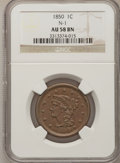 Large Cents: , 1850 1C AU58 NGC. N-1. NGC Census: (38/414). PCGS Population(25/247). Mintage: 4,426,844. Numismedia Wsl. Price for probl...
