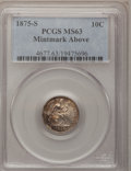 Seated Dimes: , 1875-S 10C Mintmark Above Bow MS63 PCGS. PCGS Population (6/8).Numismedia Wsl. Price for problem free ...