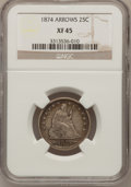 Seated Quarters: , 1874 25C Arrows XF45 NGC. NGC Census: (6/62). PCGS Population(8/100). Mintage: 471,200. Numismedia Wsl. Price for problem ...