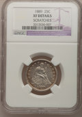 Seated Quarters: , 1889 25C --Scratches--NGC Details. XF. NGC Census: (0/162). PCGSPopulation (2/181). Mintage: 12,000. Numismedia Wsl. Price ...