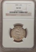 Seated Quarters: , 1890 25C AU50 NGC. NGC Census: (1/165). PCGS Population (6/174).Mintage: 80,000. Numismedia Wsl. Price for problem free NG...