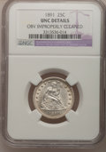 Seated Quarters: , 1891 25C --Obv Improperly Cleaned--NGC. Unc. NGC Census: (1/457).PCGS Population (8/468). Mintage: 3,920,600. Numismedia Ws...