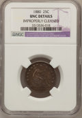 Seated Quarters: , 1880 25C --Improperly Cleaned--NGC Details. Unc. NGC Census:(2/104). PCGS Population (0/173). Mintage: 13,600. Numismedia W...
