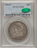 Bust Half Dollars: , 1814/3 50C VF25 PCGS. CAC. PCGS Population (8/123). NGC Census:(7/88). Numismedia Wsl. Price for problem free NGC/PCGS co...