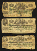 Confederate Notes:1862 Issues, T43 $2 1862. Three Examples.. ... (Total: 3 notes)