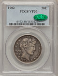 Barber Half Dollars: , 1902 50C VF30 PCGS. CAC. PCGS Population (14/282). NGC Census:(0/177). Mintage: 4,922,777. Numismedia Wsl. Price for probl...