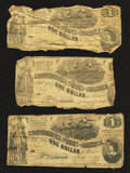 Confederate Notes:Group Lots, T44 $1 1862. Four Examples.. T45 $1 1862.. ... (Total: 5 notes)