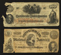 Confederate Notes:Group Lots, Two Well Circulated $100 Confederate Notes.. ... (Total: 2 notes)