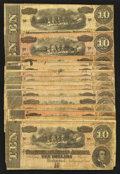 Confederate Notes:1864 Issues, T68 $10 1864 Sixteen Examples.. ... (Total: 16 notes)