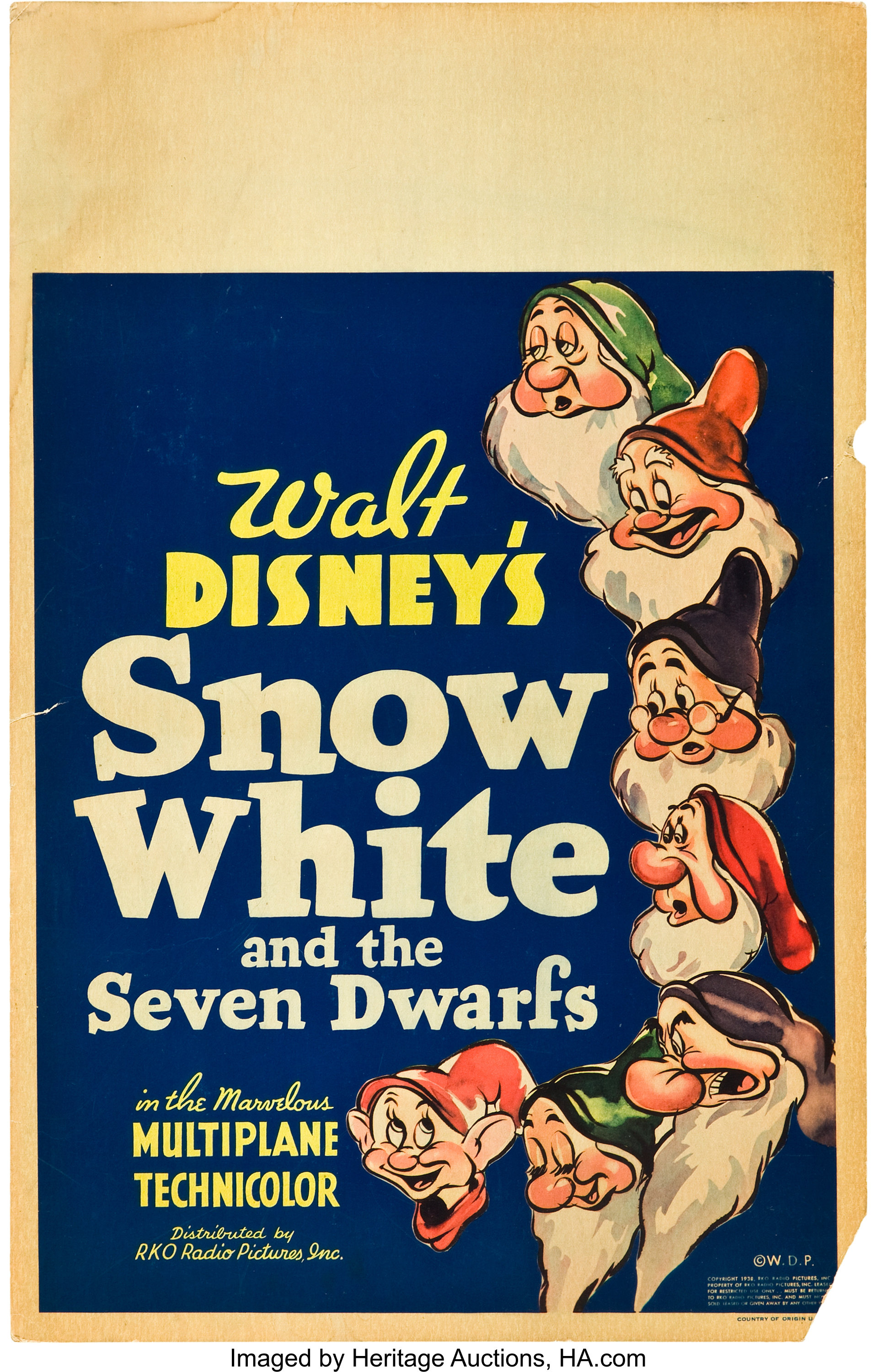 Snow White And The Seven Dwarfs Rko 1937 Window Card 14 X Lot 83130 Heritage Auctions