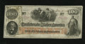 Confederate Notes:1862 Issues, T41 $100 1862. No folds, but a corner bump is noticed. Crisp Uncirculated....
