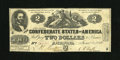 "Confederate Notes:1862 Issues, T42 $2 1862. This Very Fine ""South Strikes the Union"" example is aPF-2, Cr. 335...."