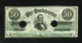 Confederate Notes:1862 Issues, T50 $50 1862. Jeff Davis is surrounded by cut-out cancels on thisotherwise pleasing Extremely Fine example. PF-4, Cr. 3...