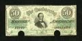 "Confederate Notes:1863 Issues, T57 $50 1863. Someone pencilled the Criswell number ""406"" on the back of this Very Fine $50, with two cut-out cancels at..."
