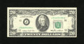 Error Notes:Skewed Reverse Printing, Fr. 2075-J $20 1985 Federal Reserve Note. Choice AboutUncirculated.. The back print on this $20 green seal is very skewedo...